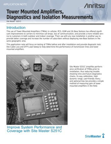 Tower Mounted Amplifiers, Diagnostics and Isolation ... - Opticus