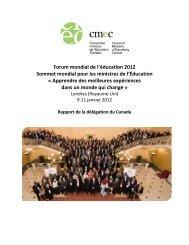 Forum mondial de l'éducation - Conseil des ministres de l'Éducation ...