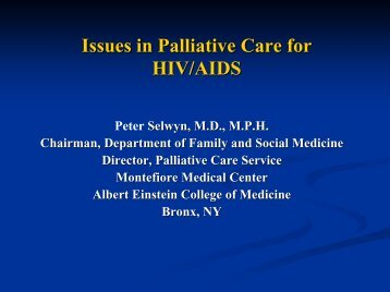Palliative Care for HIV/AIDS - Department of Pain Medicine and ...