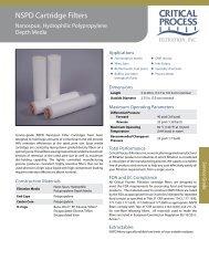 NSPD Cartridge Filters - Critical Process Filtration