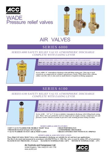 AIR VALVES Pressure relief valves - Air controls and compressors ltd