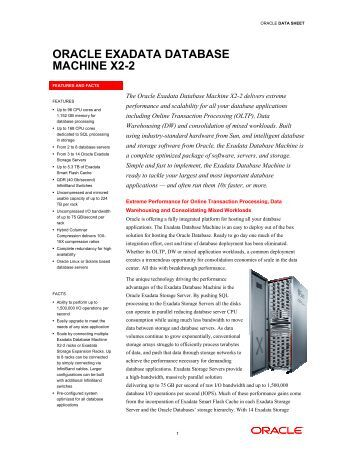 ORACLE EXADATA MACHINE X2-2 EXADATA DATABASE 2