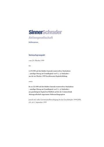 Verkaufsprospekt 1999 - SinnerSchrader AG