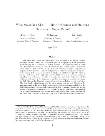 Mate preferences and matching outcomes in online dating