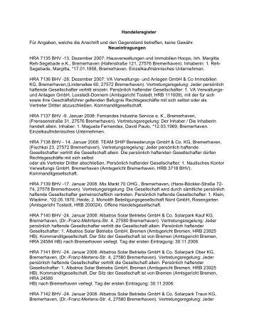 Handelsregister - Amtsgericht Bremerhaven - Bremen