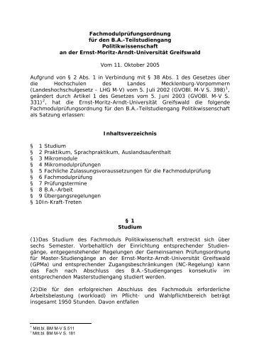 BA-Prüfungsordnung Politikwissenschaft 2005 - FSR Politik