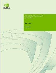 NVENC - NVIDIA Video Encoder API Reference Manual Version 2.0