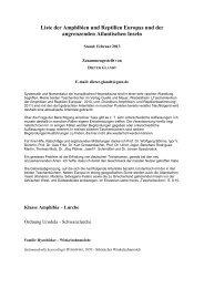 Liste der Amphibien und Reptilien Europas und der angrenzenden ...