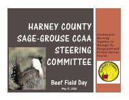 HARNEY COUNTY SAGE-GROUSE CCAA STEERING COMMITTEE