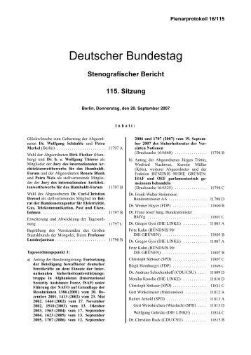 Stenografischer Bericht 115. Sitzung - Deutscher Bundestag