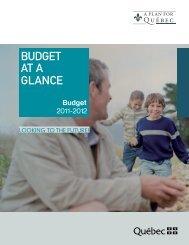 2011-2012 Budget - Budget at a Glance - Gouvernement du Québec