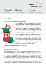 ZT Newsletter 4 2008 - Zürcher Tierschutz