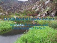 La Jolla Band of Luiseno Indians: Wetlands Restoration and - Water