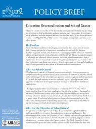 Education Decentralization and School Grants - Education Policy ...