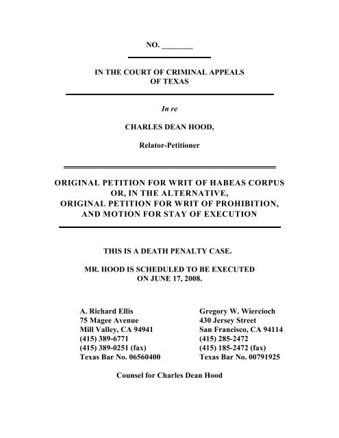 ORIGINAL PETITION FOR WRIT OF HABEAS CORPUS OR, IN THE ...
