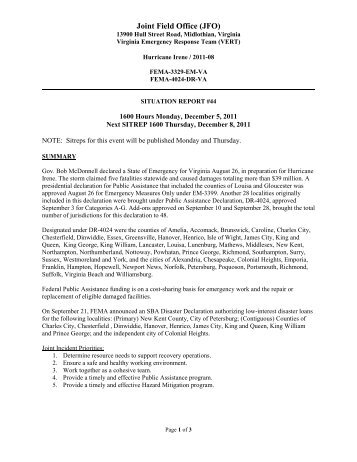 Situation Report 44   Virginia Department Of Emergency Management