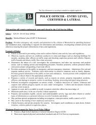 police officer – entry level, certified & lateral - City of Bremerton