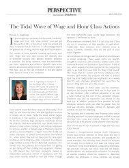 The Tidal Wave of Wage and Hour Class Actions - Duane Morris LLP