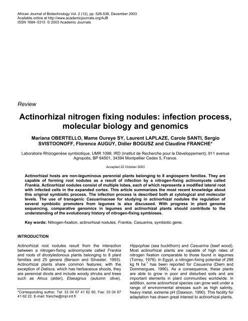 Actinorhizal nitrogen fixing nodules - African Journals