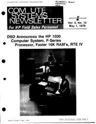 DSD Announces the HP 1000 Computer System, F-Series ...