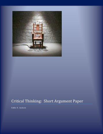 Critical Thinking: Short Argument Paper - Eddie Jackson