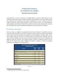 Profils universitaires des étudiants du collégial - Collège Jean-de ...