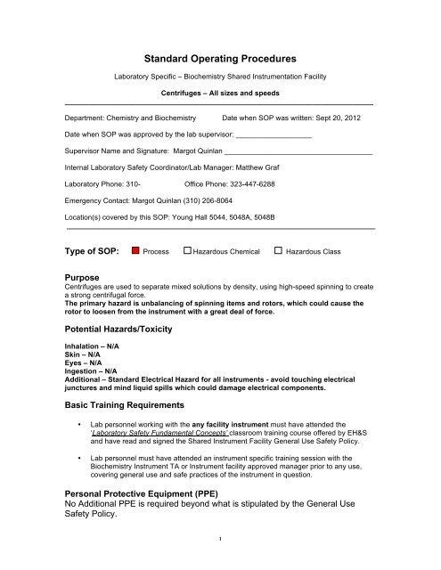 Standard Operating Procedures - UCLA