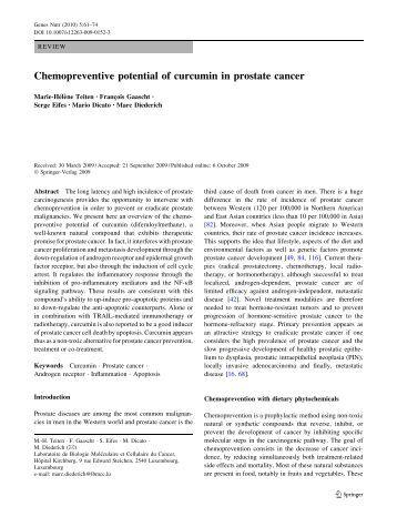Chemopreventive potential of curcumin in prostate cancer - Springer
