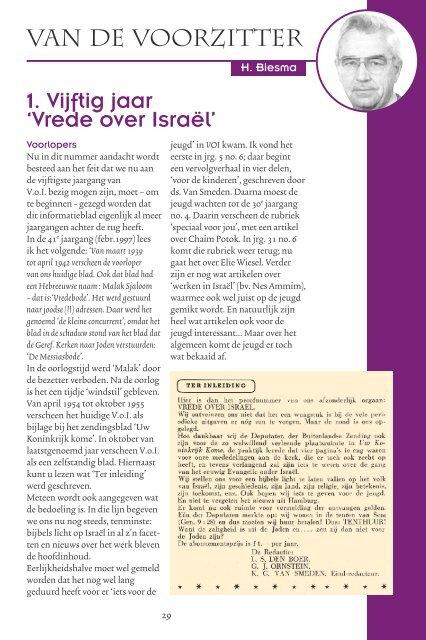 VAN DE VOORZITTER 1. Vijftig jaar 'Vrede over Israël' - Kerk en Israël