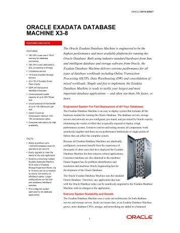 Oracle Exadata Database Machine X3-2 Data Sheet