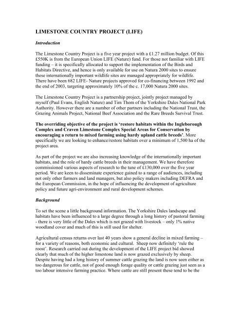 LIFE project description (PDF, 98 5 kb) - Natura 2000