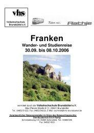 Franken Wander- und Studienreise 30.09. bis 08.10.2006
