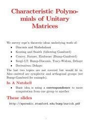 Characteristic Polyno- mials of Unitary Matrices