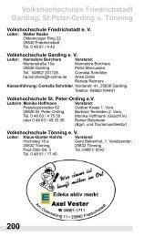 Volkshochschulen Friedrichstadt Garding, St.Peter-Ording u. Tönning
