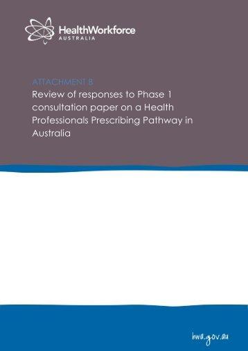 Review of consultation paper responses - Health Workforce Australia