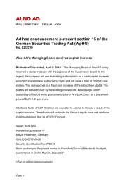 Ad hoc announcement pursuant section 15 of the German ... - Alno
