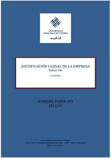 working paper ufv 2012/01 justificación causal de la empresa