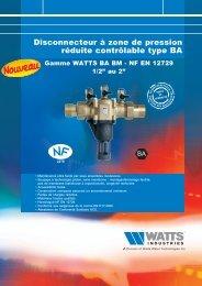 Disconnecteur à zone de pression réduite ... - Watts Industries