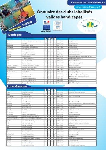 Annuaire des clubs labellisés valides handicapés Dordogne - drjscs