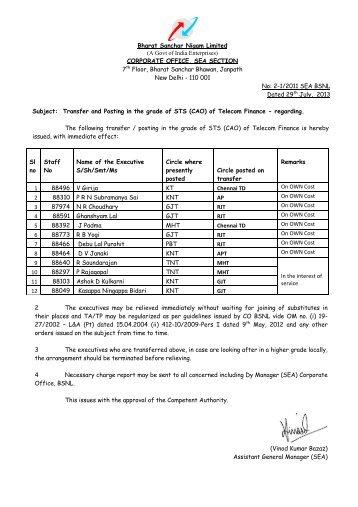 Bharat Sanchar Nigam Limited (A Govt of India ... - AIBSNLEA