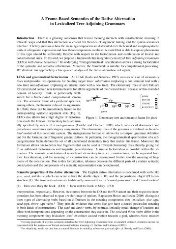 A Frame-Based Semantics of the Dative Alternation in ... - CSSP