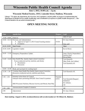 Agenda - Wisconsin Public Health Council