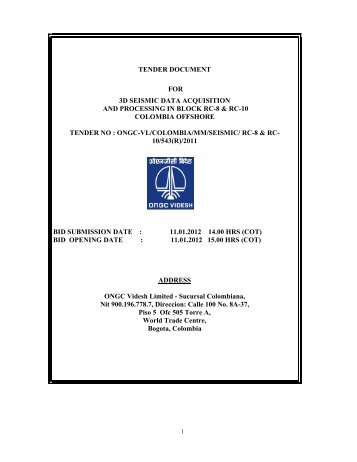 tender document for 3d seismic data acquisition and processing in ...