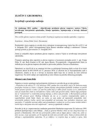 ZLOČIN U GRUBORIMA Izvještaji s praćenja suđenja - Documenta