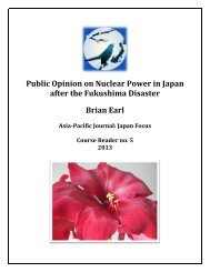 Public Opinion on Nuclear Power in Japan after the ... - Japan Focus