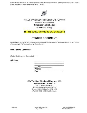 NIT No 59/ ED-I/CH/12-13 Dt.: 31/12/2012 TENDER DOCUMENT