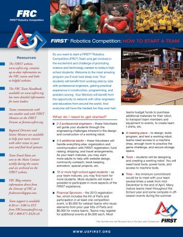 FIRST ® Robotics Competition: HOW TO START A TEAM