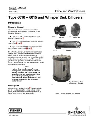 Type 6010 -- 6015 and Whisper Disk Diffusers