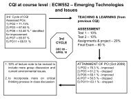 CQI at course level : ECW552 – Emerging Technologies and ... - MQA