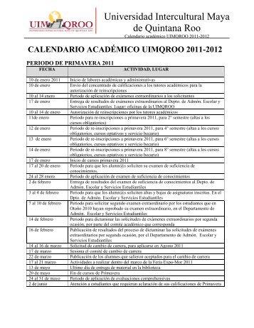 calendario académico uimqroo 2011-2012